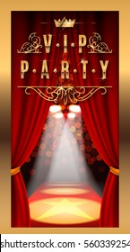 VIP PARTY inscriptions with red theater curtains and velvet carpet.