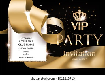 VIP PARTY INVITATION BANNER WITH GOLDEN RIBBON, VINTAGE FRAME AND CROWN. VECTOR ILLUSTRATION