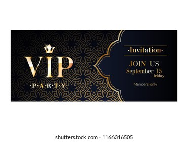 VIP party premium invitation card poster flyer. Black and golden design template. Decorative background with arabic pattern.