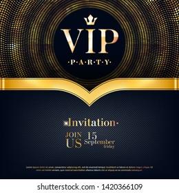 VIP party premium invitation card poster flyer. Black and golden design template. Golden glitter burst decorative background with ribbon.
