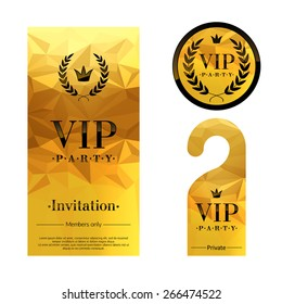 VIP party premium invitation card, warning hanger and round label badge. Golden faceted mosaic design template set. Laurel wreath and crown.