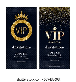 VIP party premium invitation card poster flyer. Black and golden design template. Gold metallic glitter sequins decorative background with crown.