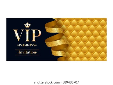 VIP party premium invitation card poster flyer. Black and golden design template. Quilted yellow pattern decorative background with gold ribbon serpentine.