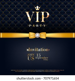 VIP party premium invitation card poster flyer. Black and golden design template. Quilted pattern decorative background with golden ribbon and bow.