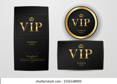 VIP party premium invitation cards posters flyers. Black and golden design template set.