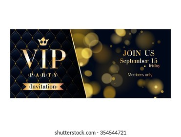 VIP party premium invitation cards posters flyers. Black and golden design template set. Glow bokeh and quilted pattern decorative background. Mosaic faceted letters.