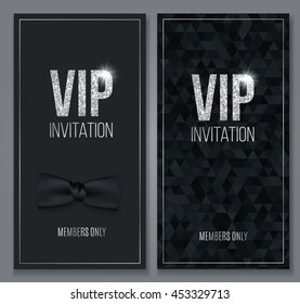 VIP party premium invitation design template for cards, posters, flyers, banners. Elegant Black background.Vector illustration