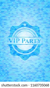 VIP Party realistic light blue mosaic emblem
