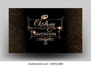 VIP party sparkling invitation card with vintage gold frame. Vector illustration