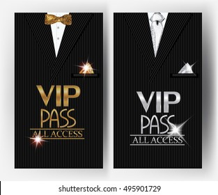 VIP PASS cards with men's suit on the background. Vector illustration