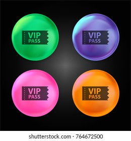 VIP pass crystal ball design icon in green - blue - pink and orange.