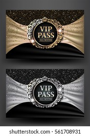 VIP PASS with vintage frame and fabric background. Vector illustration
