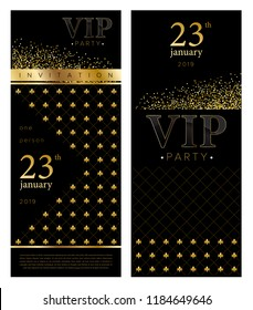 Vip Person  Party Invitation Flyer. Premium design, Vector gold background with grid and confetti. Luxury vector design.