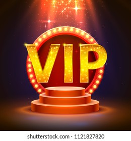 Vip podium with lighting, Stage Podium Scene with for Award Ceremony on red Background. Vector illustration