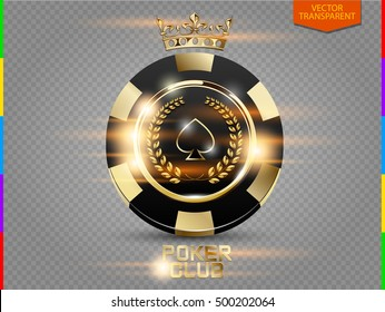 VIP poker black and golden chip with light effect vector. Royal poker club casino emblem with crown, laurel wreath and spades isolated on transparent background