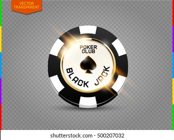 VIP poker chip with light effect vector. Black jack poker club casino spades emblem isolated on transparent background