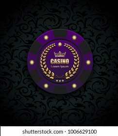 VIP poker luxury purple chip vector casino logo concept. Royal poker club emblem with golden crown, laurel wreath and spade on black floral pattern cloth background
