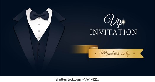 VIP premium horizontal invitation card.  Black banner with businessman suit and tie. Black and golden design template. Vector illustration