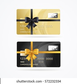 Vip or Premium Present Plastic Cards Set Golden and Black with Ribbon. Vector illustration