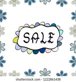 VIP SALE starts today promo banner with lettering word SALE. Vector. SALE Promotion banner, price tag, discount sticker, badge, poster. Seamless. Illustration in white, black and blue colors.