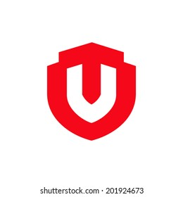 Vip Shield symbol. Royal Protection unusual element. Sign the letter V Branding Identity Corporate vector logo design template Isolated on a white background