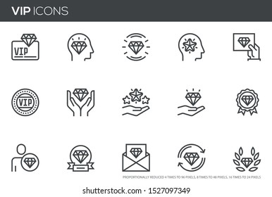 VIP vector line icons set. Very important person, VIP customer. Perfect pixel icons, such can be scaled to 24, 48, 96 pixels.