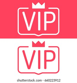 Vip or Very Important Person. Badge with crown icon. Flat vector illustration on white and red background.