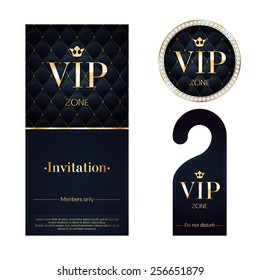 VIP zone members premium invitation card, warning hanger and round label badge. Black and golden design template set. Quilted texture, diamonds and metal.