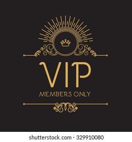 VIP Zone. Members Premium Vignette. Black and Gold Trendy Mono Line Design template. Vector illustration