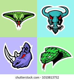 Viper, Bull, Rhino and Cobra head. Logo set.