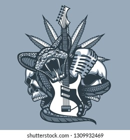 Viper enveloping the Guitar, Microphone against the background of Skulls and Marijuana leaf. Monochrome tattoo style.