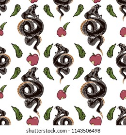 Viper snake and apple seamless pattern. Vector illustrations in engraving ink technique.