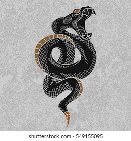 Viper snake. Hand drawn vector illustration in ink technique on grunge background, good for poster, sticker, tee shirt design.