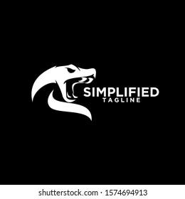 viper snake head black logo icon design