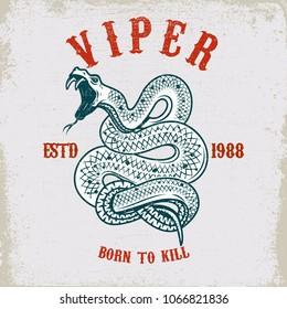 Viper snake illustration on grunge background. Design element for poster, card, t shirt. Vector illustration