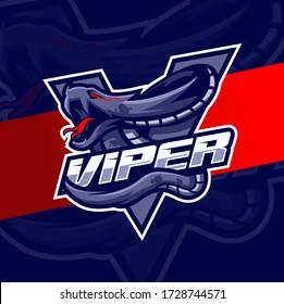 viper snake mascot esport logo design