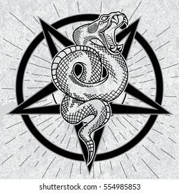 Viper snake in pentagram. Hand drawn vector illustration in outline technique with star rays, pentagram and grunge background. Satanic symbol, good for poster, sticker, tee shirt design.
