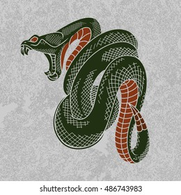 Viper snake vector illustration. Ink technique, good for poster, sticker, tee shirt design.