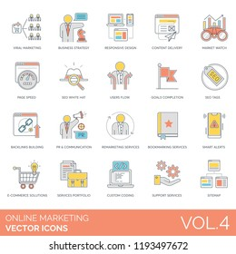 Viral, business strategy, responsive design, content delivery, market watch, page speed, seo white hat, backlinks building, communication, e-commerce solution, sitemap online marketing vector icons.