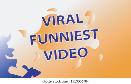 Viral Funniest Video Words With Boy Laughing and Give a Thumbs Up Silhouette Dominated With Orange White and Dark Blue Colors. Good and Suitable for Youtube Thumbnails