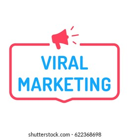 Viral marketing. Badge with megaphone icon. Flat vector illustration on white background.