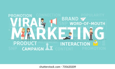 Viral marketing concept illustration. Idea of product, brand and campaign.