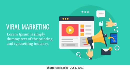 Viral marketing, viral content, digital marketing, social media networking, flat vector banner illustration with icons isolated on green background