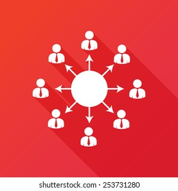 Viral marketing icon. Viral information spreading chain concept. Flat icon with long shadow