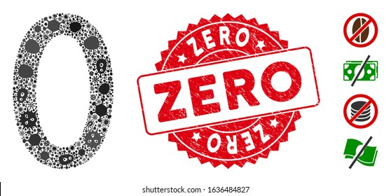 Viral mosaic zero digit icon and round distressed stamp watermark with Zero phrase. Mosaic vector is formed with zero digit icon and with randomized bacillus symbols. Zero seal uses red color,
