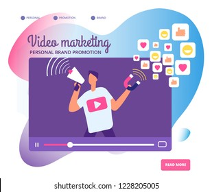 Viral video marketing. Personal brand promotion, social network communication and influencers videos market vector concept illustration