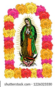 Virgin of Guadalupe, color Roses  Isolated Vector illustration