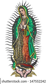 Virgin of Guadalupe, Mexican Virgen de Guadalupe color vector illustration
