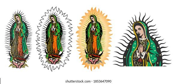 Virgen de Guadalupe, colección vectorial de color Virgen de Guadalupe de México.