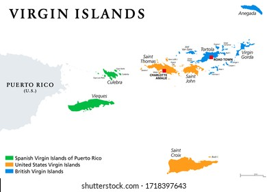 Virgin Islands map with political jurisdictions. British, Spanish and U.S. Virgin Islands in the Caribbean. British overseas territory and unincorporated territories of the USA. Illustration. Vector.